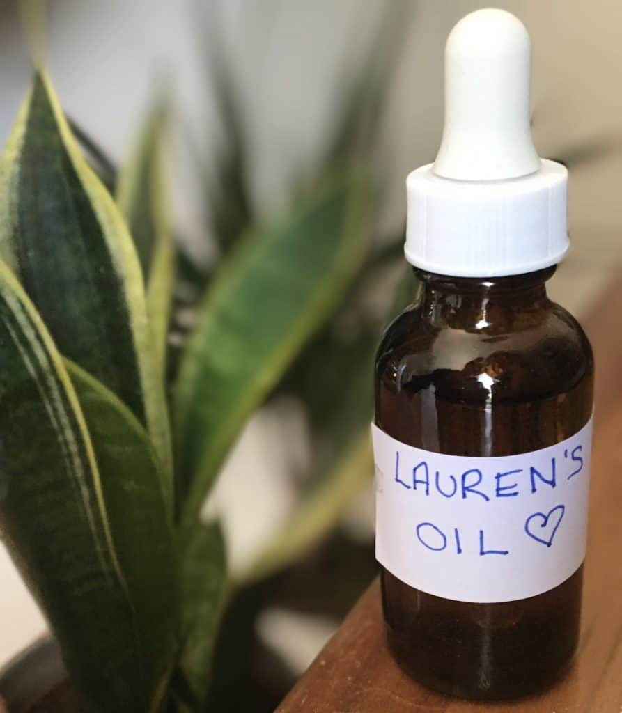 homemade hair treatment in amber bottle