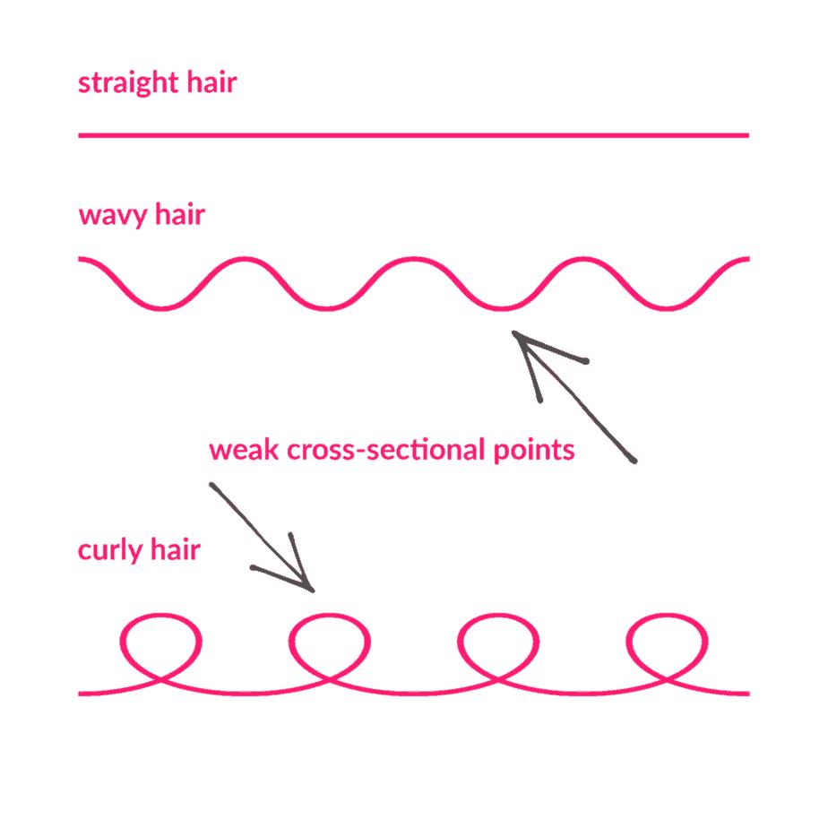 weak points in curly hair