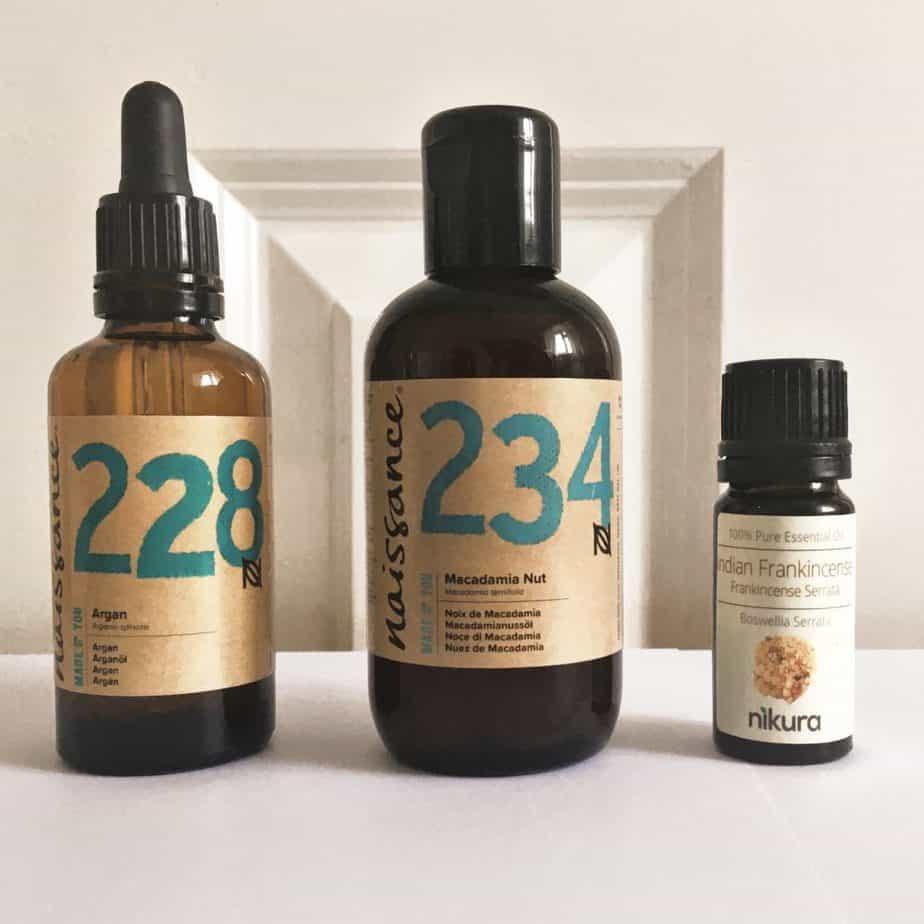 macadamia nut oil argan oil frankincense oil hair treatment