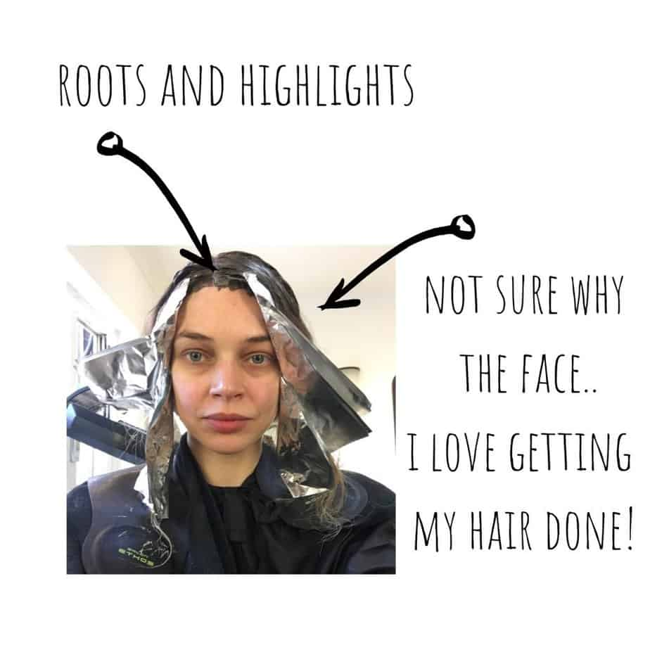 colouring curly hair with root colour and highlights